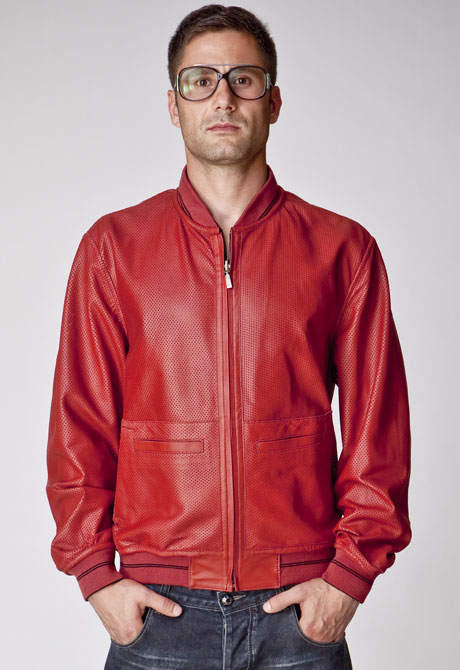 men leather jacket turn-over 100% lamb nappa leather